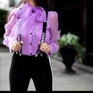 Tie organza blouse